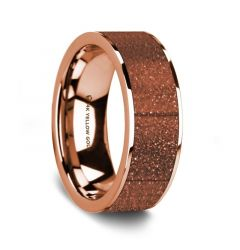Flat Polished 14K Rose Gold Wedding Ring with Orange Gold Stone Inlay - 8 mm