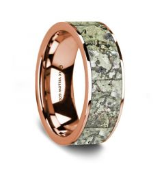 Flat Polished 14K Rose Gold Wedding Ring with Green Dinosaur Bone Inlay - 8 mm