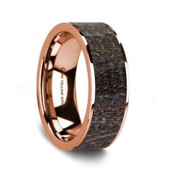 Flat Polished 14K Rose Gold Wedding Ring with Dark Deer Antler Inlay - 8 mm