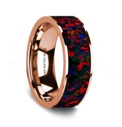 Flat Polished 14K Rose Gold Wedding Ring with Black and Red Opal Inlay - 8 mm