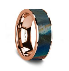 Flat Polished 14K Rose Gold Wedding Ring with Spectrolite Inlay - 8 mm