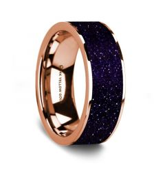 Flat Polished 14K Rose Gold Wedding Ring with Purple Gold Stone Inlay - 8 mm