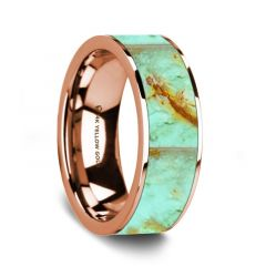 Flat Polished 14K Rose Gold Wedding Ring with Turquoise Inlay - 8 mm