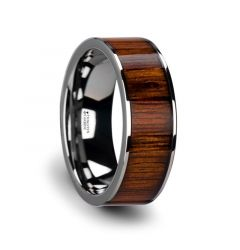 Flat Tungsten Carbide Wedding Band with Rare Koa Wood Inlay and Polished Edges - 6mm - 10mm