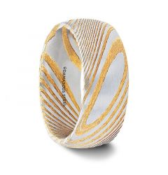 CERSEI Gold Color Domed Brushed Damascus Steel Mens Wedding Band with A Vivid Etched Design- 6mm & 8mm