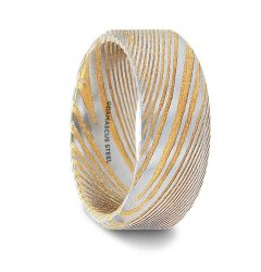 JOFFREY Gold Beveled Color Damascus Steel Brushed Beveled Mens Wedding Band with Repeating Artisan Pattern - 6mm & 8mm