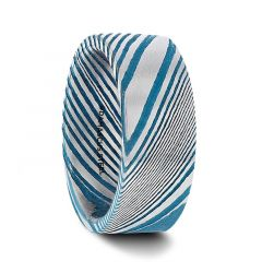 DUKE Blue Flat Brushed Damascus Steel Mens Wedding Band with A Vivid Etched Design- 6mm & 8mm