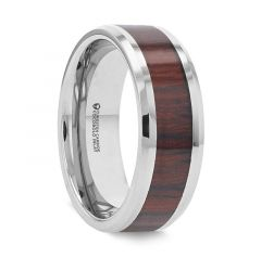 PRESLEY Tungsten Carbide Ring Cocobolo Inlay Polished Beveled Edges
