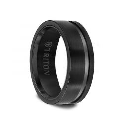EZRA Black Tungsten Flat Satin Finish Ring with Single Polished Offset Groove by Triton Rings