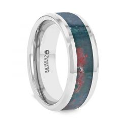 MICAH Bloodstone Inlay Tungsten Carbide Ring with Polished Beveled Edges - 8mm
