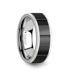 ROCHESTER Tungsten Ring with Horizontal Grooved Black Ceramic Center - 8 mm