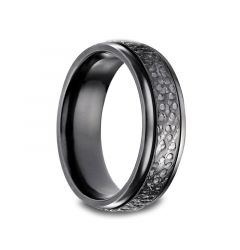 CAREY Black Titanium Ring with Cratered Finish by Benchmark - 7mm