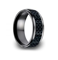 EYPHAH Black Titanium Ring with Black Carbon Fiber Inlay by Benchmark - 8mm