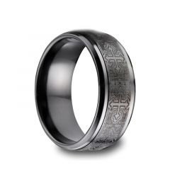 KOLI Black Titanium Ring with Engraved Crosses by Benchmark - 9mm