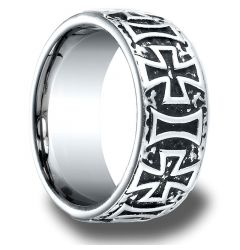 HUNTSVILLE Cobalt Chrome Ring with Cast Crosses by Benchmark - 9mm