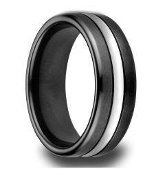 DECATUR Satin Finished Blackend Cobalt Ring with Polsihed Center Groove by Benchmark - 7.5mm