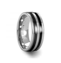 LEVIATHAN Grooved Tungsten Ring wth Dual Offset Black Ceramic Inlays  - 8mm