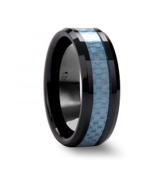 ATTICUS Beveled Blue Carbon Fiber Inlaid Black Ceramic Ring - 8mm