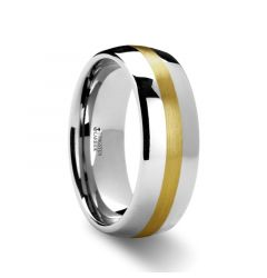 CENTURION 14K Gold Inlaid Domed Tungsten Ring 6mm or 8mm