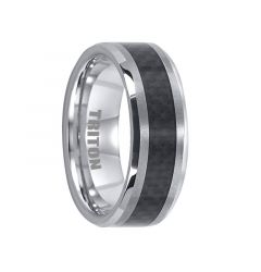 ABEL Black Carbon Fiber Inlaid Tungsten Band with Beveled Edges by Triton Rings - 8 mm
