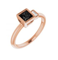 STELLA Rose Gold Two Stone Black Diamond Engagement Ring