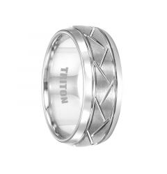 BENTON White Tungsten Wedding Band with Brushed Cross Alternating Diagonal Cuts by Triton Rings - 8mm