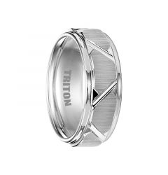BLAINE White Tungsten Wedding Band with Etched Finish Diagonal Grooves by Triton Rings - 8mm