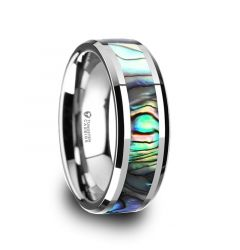 MAUI Tungsten Wedding Band with Mother of Pearl Inlay - 4mm - 10mm