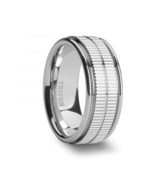 CARLTON White Tungsten Ring with Dual Coin Edge Center by Triton Rings - 9mm