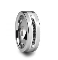 CALVIN Flat Tungsten Ring with Silver Inlay and Channel Set Black Diamonds by Triton Rings - 8mm