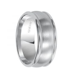PENDLETON Palladium Ring with Domed Brushed Center Offset Milgrains and Raised Edges by Artcarved - 4.5 mm & 6.5 mm