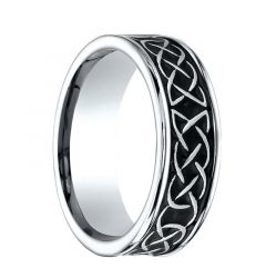 CHESTER Comfort Fit Carved Celtic Knot Design Cobalt Ring by Benchmark - 7mm