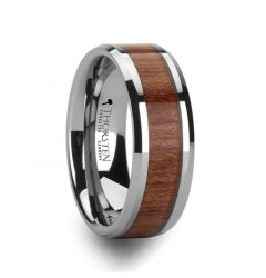 KODIAK Tungsten Wedding Band with Bevels and Rosewood Inlay - 4mm - 12mm