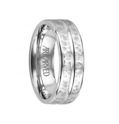 ENTRUST Flat Palladium Wedding Band with Hammered Finish and Polished Center Groove by ArtCarved - 6 mm