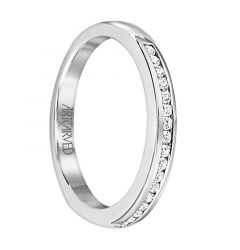 JUBILEE Flat Style Palladium Wedding Band for Her with Channel Set White Diamonds by ArtCarved Bridal - 3 mm