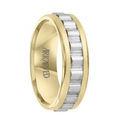 DENLEY Two Tone 14K Gold Ring with Raised Horizontal Grooved Center by ArtCarved Rings - 7 mm