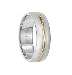 HUDSON 14K White Gold Ring with Yellow Gold Center and Brushed Finish by ArtCarved Rings - 6 mm