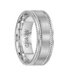 EDGEWOOD Flat 14K White Gold Wedding Band with Dual Offset Milgains and Milgrained Sides by ArtCarved Rings - 7 mm