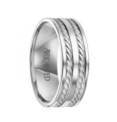 DERWIN Flat Pipe Cut 14K White Gold Wedding Band with Dual Carved Braided Inlays by ArtCarved Rings - 8 mm