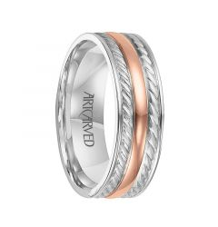 DIXON Two Tone 14K White Gold Ring with Rose Gold Center by ArtCarved Rings - 7 mm