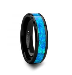 QUANTUM Black Ceramic Ring with Blue Green Opal Inlay - 4 mm - 10 mm