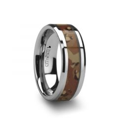 CRUSADER Tungsten Wedding Ring with Military Style Desert Camo Inlay - 8mm