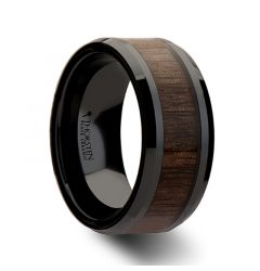 YUKON Beveled Black Ceramic Ring with Black Walnut Wood Inlay - 10mm