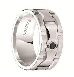 EGBERT White Tungsten Ring with Matrix Center and Black Diamond Setting by Triton Rings - 10 mm