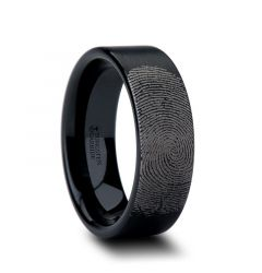 Fingerprint Engraved Flat Pipe Cut Black Tungsten Ring Brushed - San Antonio - 4mm - 12mm