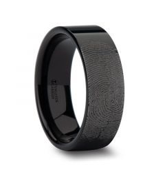 Fingerprint Engraved Flat Pipe Cut Black Tungsten Ring Polished - Morpheus - 4mm - 12mm