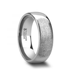 Fingerprint Engraved Domed Tungsten Ring Polished - Dominus - 4mm - 12mm