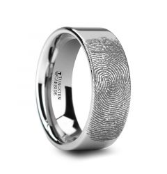 Fingerprint Engraved Flat Pipe Cut Tungsten Ring Polished- Spartan - 4mm - 12mm