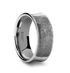 Fingerprint Engraved Concave Tungsten Ring Polished -Washington - 4mm - 8mm