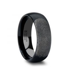 Fingerprint Engraved Domed Black Tungsten Ring with Brushed Finish - Raider - 4mm - 12mm